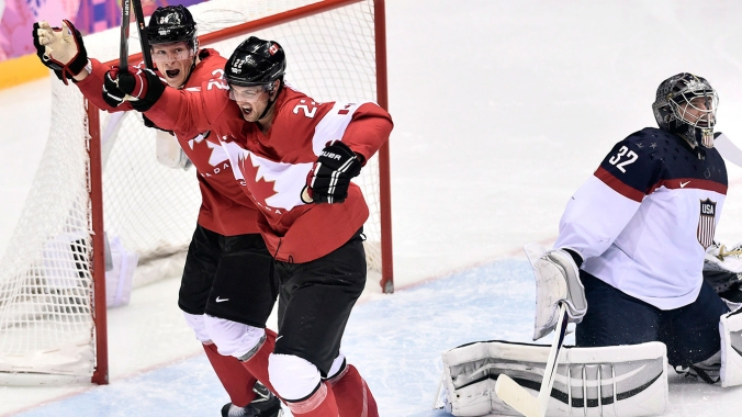 Jamie Benn celebrates his semifinal-winning goal against the United States.