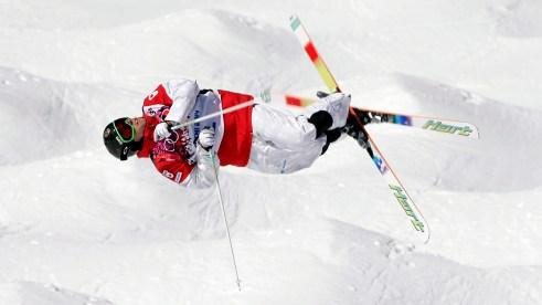 Alex Bilodeau during a moguls run in Sochi.