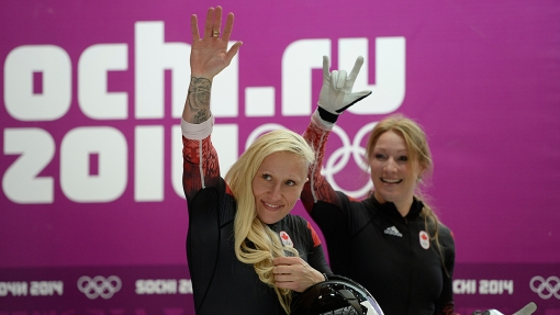 Kaillie Humphries and Heather Moyse won gold in Sochi, defending their Olympic title.