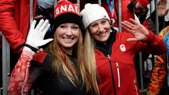 Kaillie Humphries and Heather Moyse won gold in Sochi, defending their Olympic bobsleigh title.