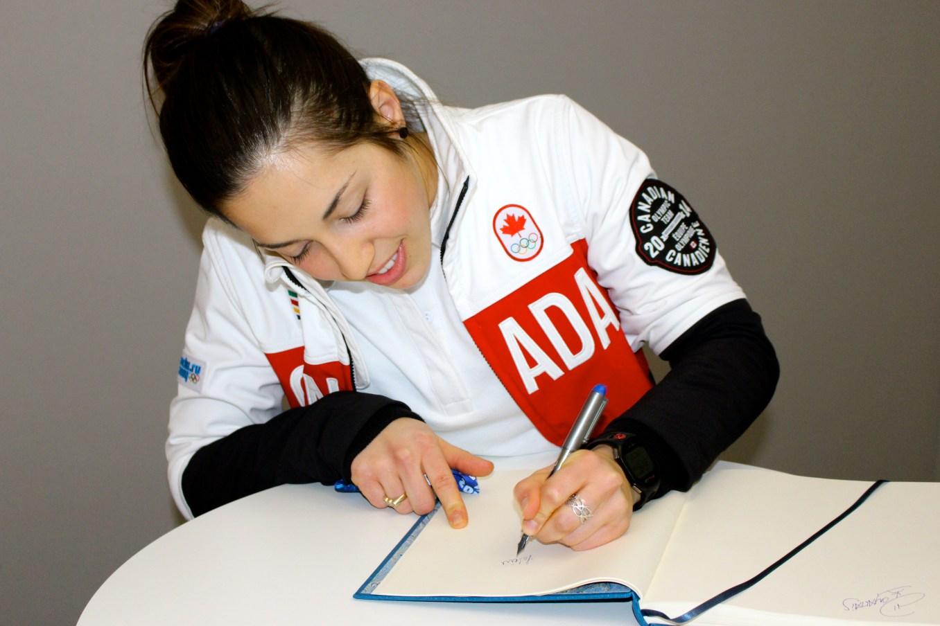 Valérie Maltais during the medal celebration