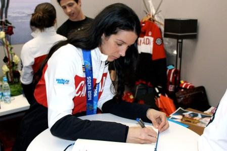 Marie-Ève Drolet during the medal celebration