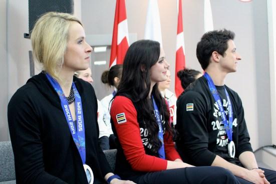 Dominique Maltais, Tessa Virtue and Scott Moir during the medal celebration
