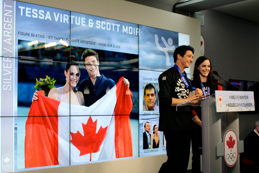 Tessa and Scott during the medal celebration