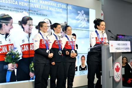 Marianne St-Gelais, Jessica Hewitt, Valérie Maltais and Marie-Ève Drolet during the medal celebration