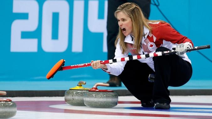 Canada's skip Jennifer Jones during the women's curling semifinal game against Britain at the 2014 Winter Olympic Games, Wednesday, Feb. 19, 2014, in Sochi, Russia. (AP Photo/Robert F. Bukaty)