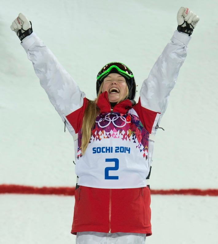 Justine Dufour-Lapointe celebrates her gold medal win