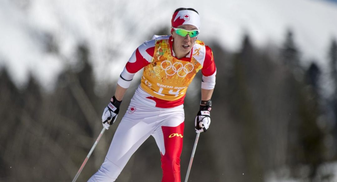 Canada's Emily Nishikawa competes in the Ladies' 4x5km Relay