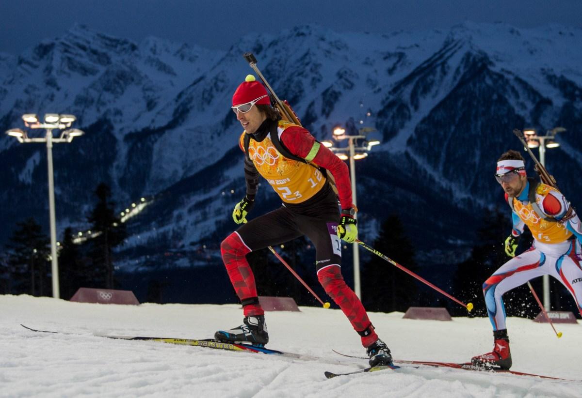 Athlete skiing