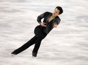 Patrick Chan of Canada competes in the men's short program figure skating competition at the Iceberg Skating Palace during the 2014 Winter Olympics, Thursday, Feb. 13, 2014, in Sochi, Russia. (AP Photo/Darron Cummings)
