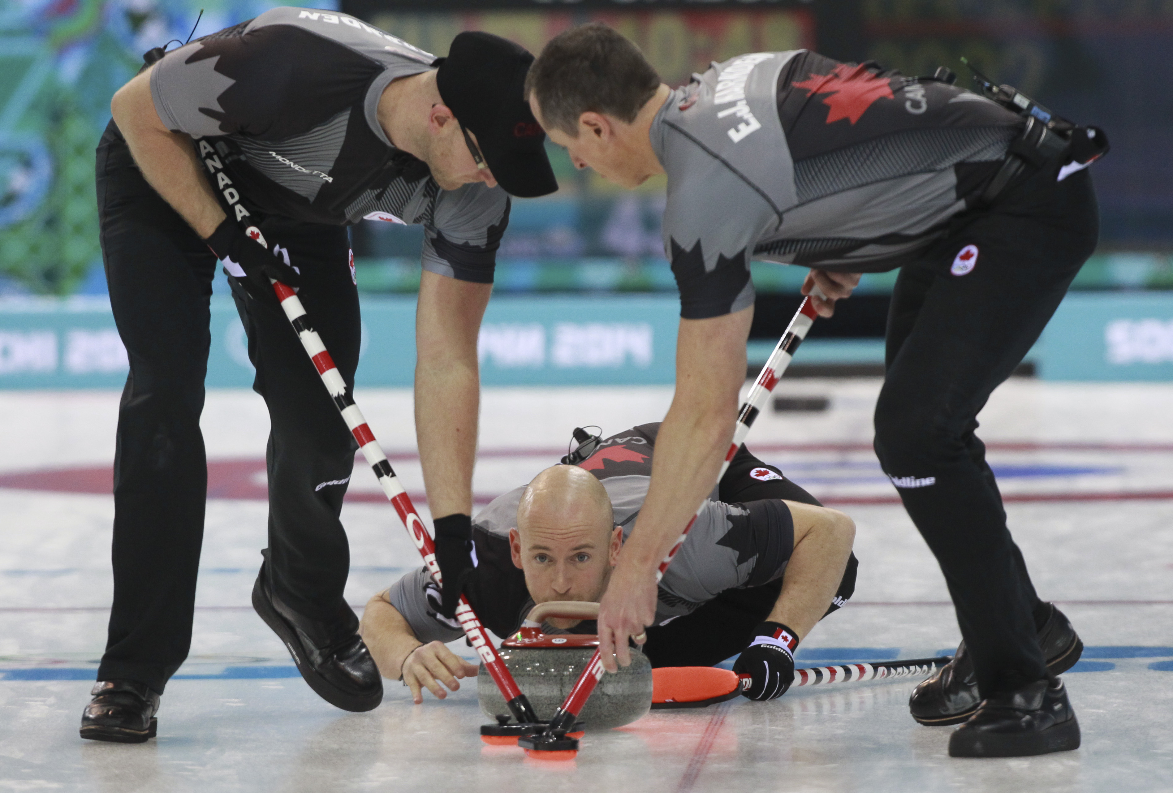 Brad Jacobs lost to Sweden 7 - 6 in an extra end at the Sochi Winter Olympics in Sochi, Russia, Tuesday, Feb. 11, 2014.  THE CANADIAN PRESS/HO, COC - Mike Ridewood