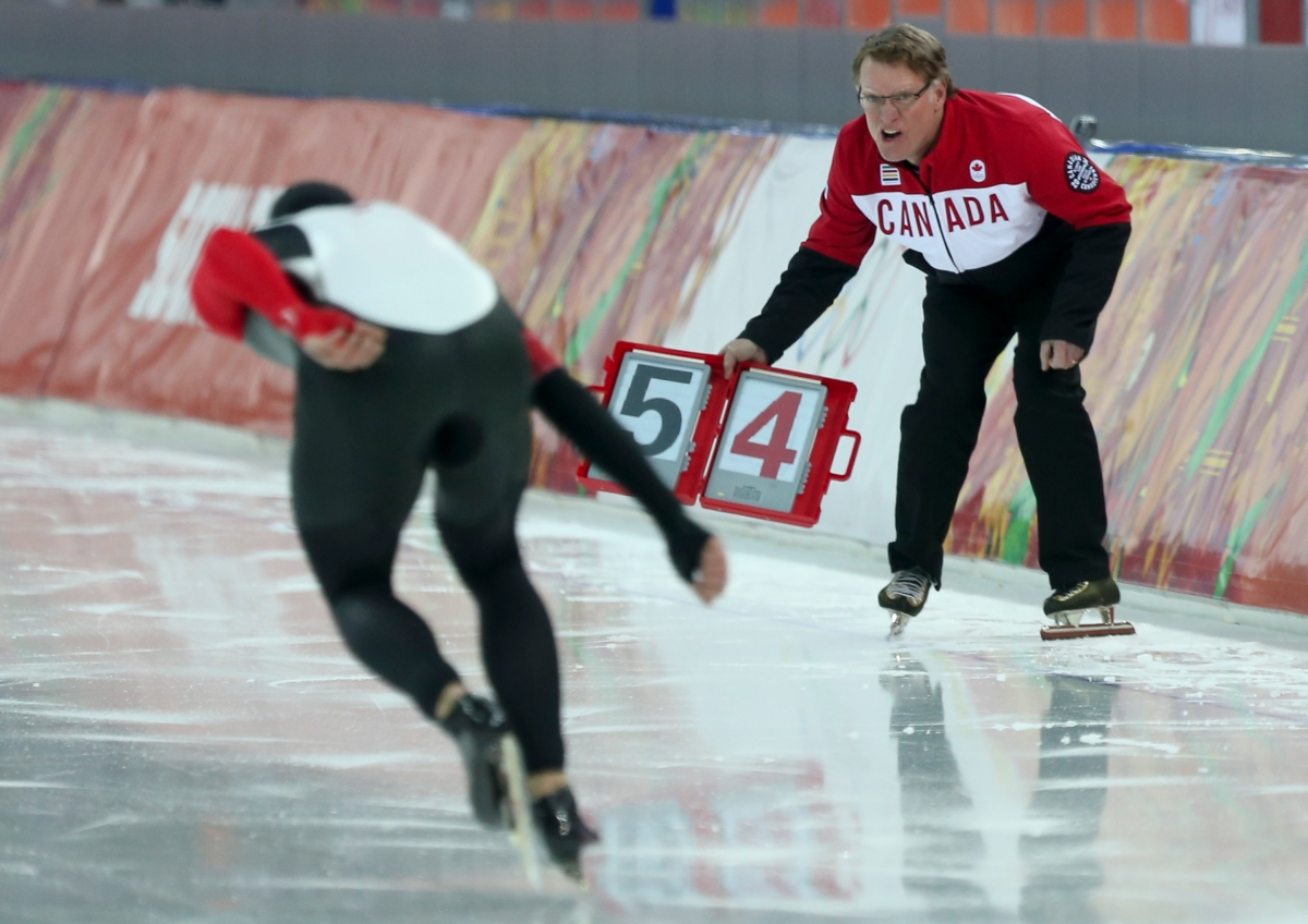 Denny Morrison of Fort. St. John, B.C. skates to the medal in long track speed skating at the Sochi Winter Olympics