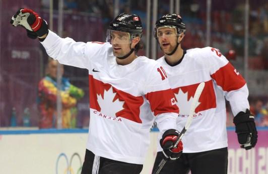 Two members of Canada's men's ice hockey team