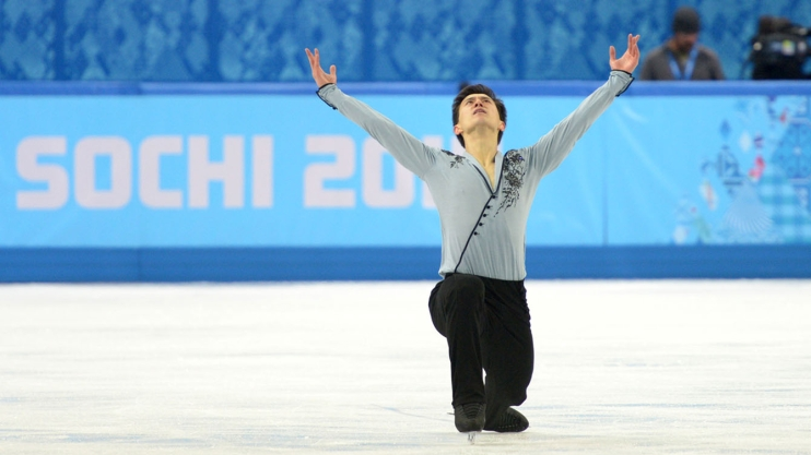 Patrick Chan at the end of his free skate in Sochi.