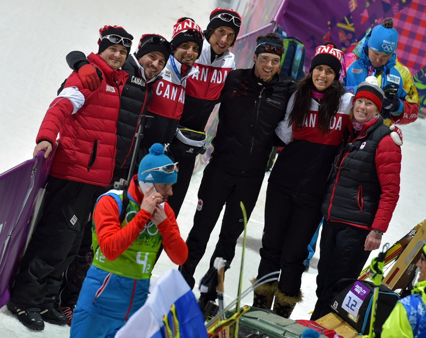 Athletes posing for a picture
