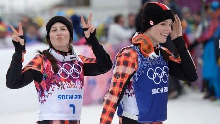 Serwa (left) and Thompson post-race at Sochi (Photo: CP)