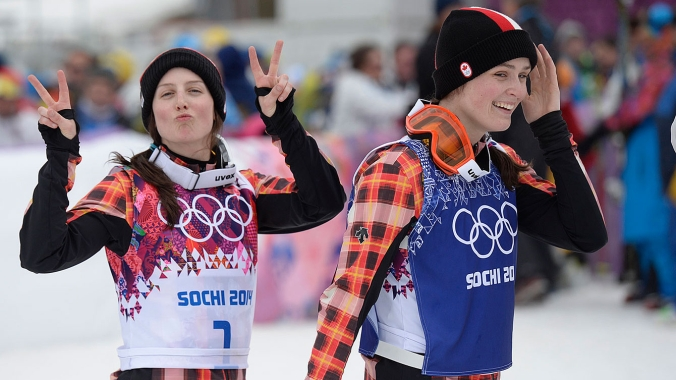 Serwa (left) and Thompson post-race at Sochi (Photo: CP)