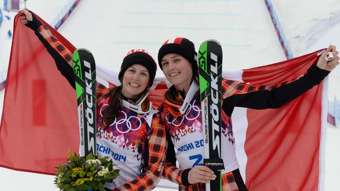 Thompson (right) and Serwa in Sochi after their 1-2 final run.