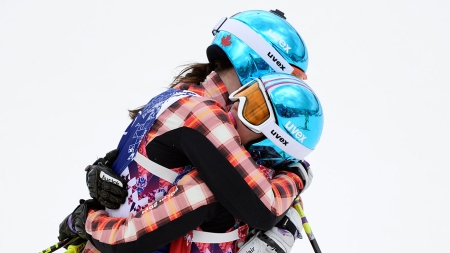 """""""It was amazing to ski across the line and give Marielle a big hug."""" - Kelsey Serwa (Photo: CP)"""