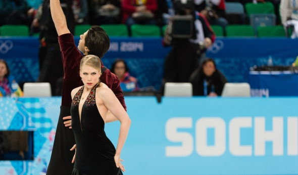 Canada's Kaitlyn Weaver and Andrew Poje competing