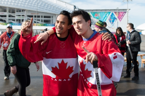 Gilmore Junio and Patrick Chan pose for a picture
