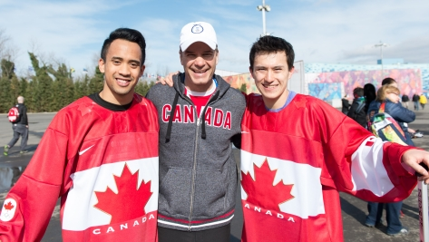Gilmore Junio, Christopher Overholt, Patrick Chan pose for a picture