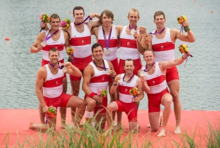 Canada's men's eight rowing team members hold their silver medals following their win at the 2012 London Olympics, on August 1, 2012. Back row from left to right: Douglas Csima; Conlin McCabe; Malcome Howard; Andrew Byrnes and Jeremiah Brown. Front row: Gabriel Bergen; Rob Gibson; Brian Price and Will Crothers. THE CANADIAN PRESS/HO, COC - Jason Ransom