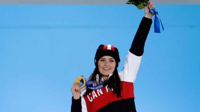 Marielle Thompson at her gold medal ceremony in Sochi (Photo: CP)