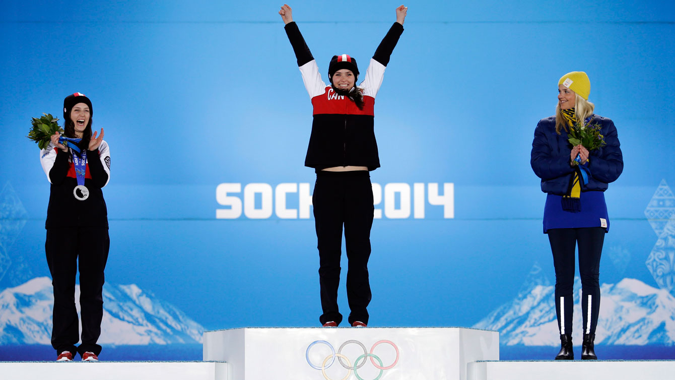 Marielle Thompson celebrates in Sochi before receiving her gold medal.