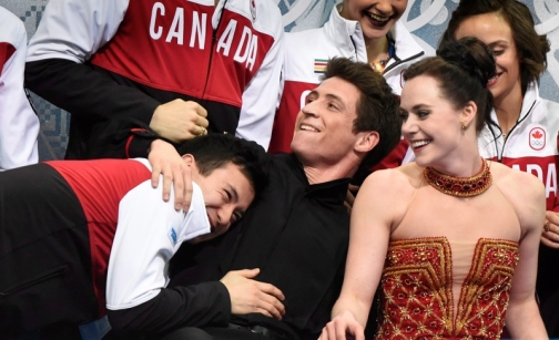 Canada was often jovial during the team event competition.