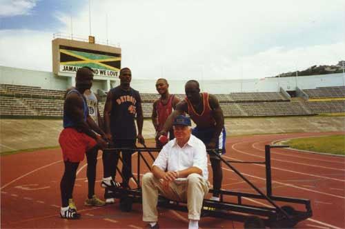 1988 Jamaican bobsleigh team with Siler sitting: source.