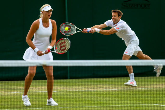 Canada's Daniel Nestor and French partner Kristina Mladenovic at Wimbledon 2014. Photo by Mauricio Paiz via Tennis Canada. Photo: CP