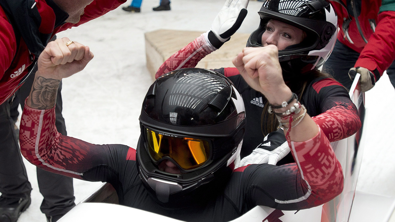 Kaillie Humphries and Heather Moyse in a bobsleigh