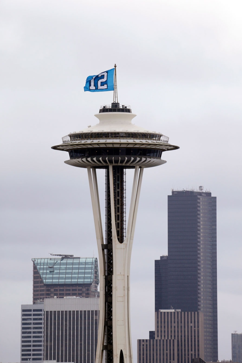 12th man flag atop Seattle's Space Needle. Photo: CP