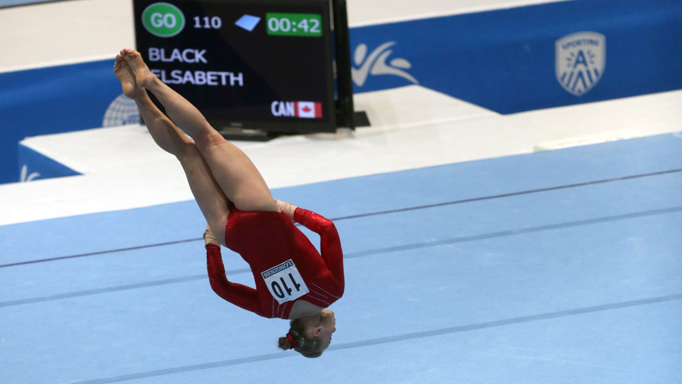 Elisabeth (Ellie) Black seen here at the floor exercise in the 2013 World Gymnastics Championships. Black improved on her all-around outing from a year ago at the 2014 competition.