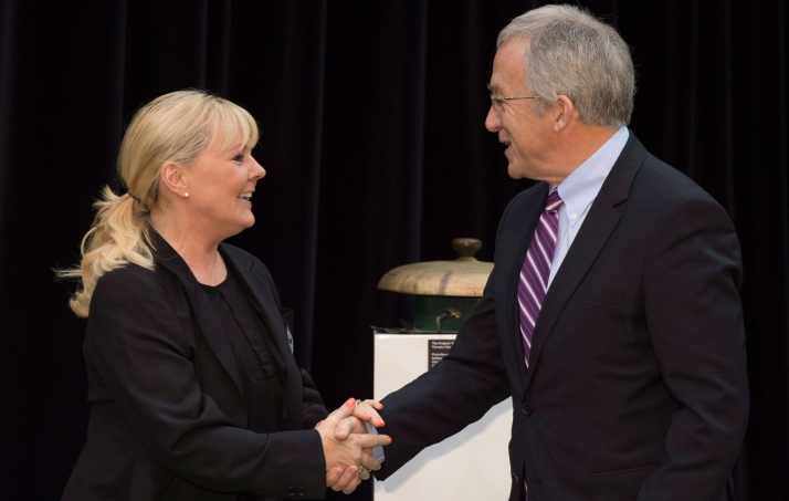 Elizabeth Manley congratulated by Colin MacDonald, chair of Canada's Sports Hall of Fame board of governors.