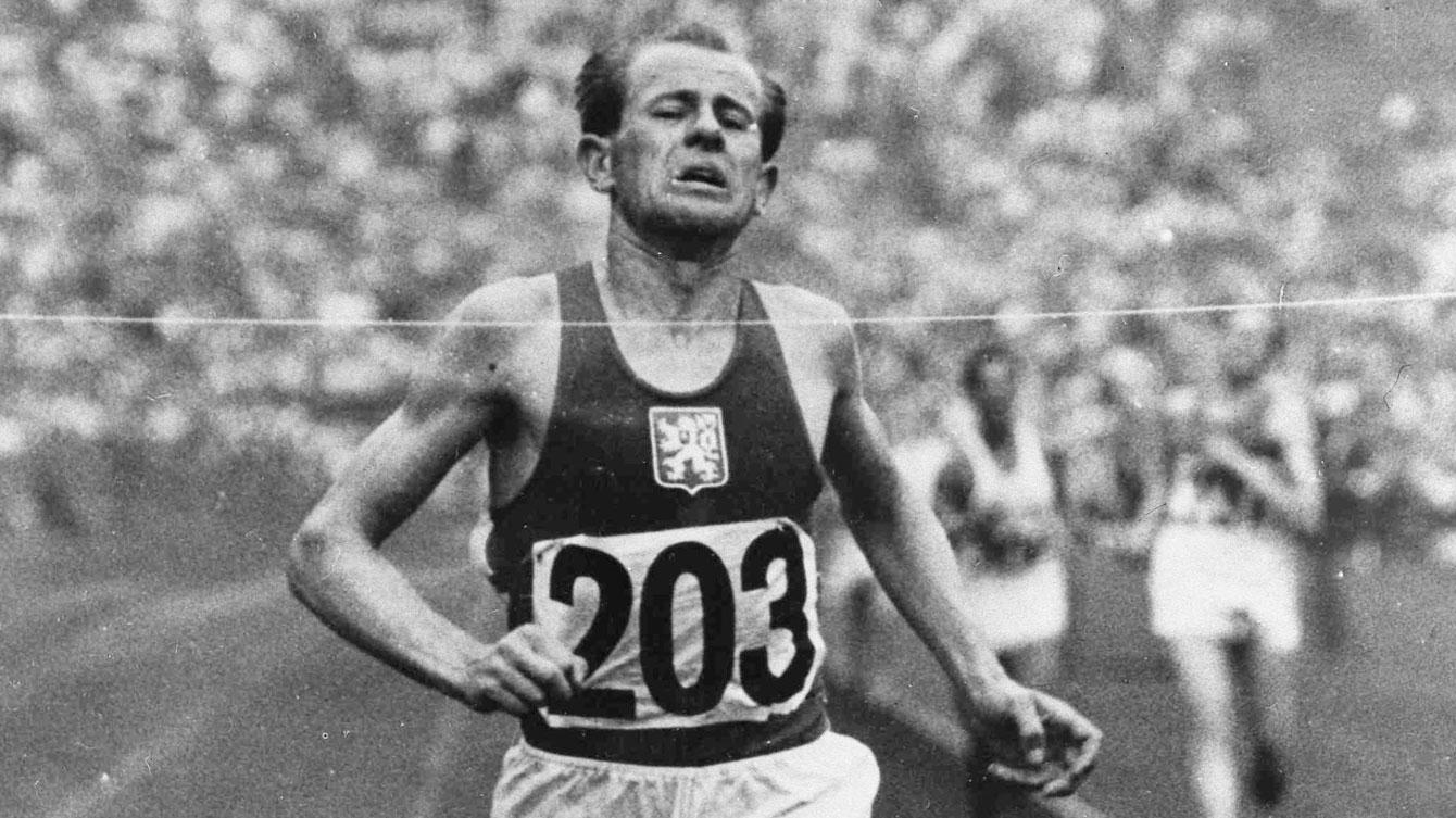 Emil Zatopek won the 5000m, 10000m, and the marathon at Helsinki 1952.