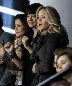 Carrie Underwood, right, supporting her Predators. Photo: CP