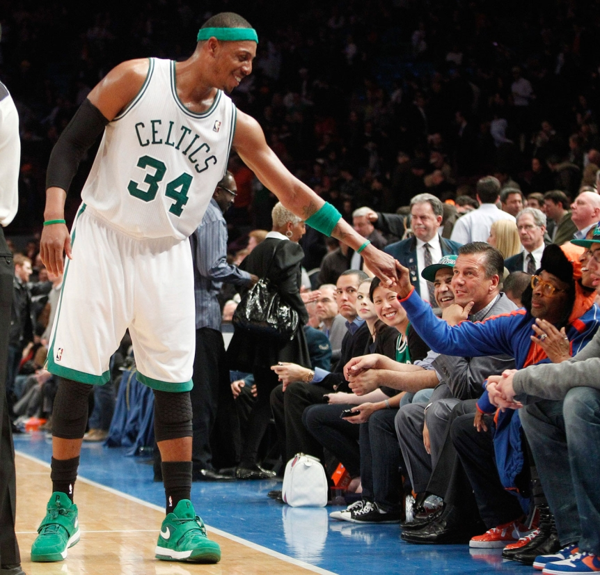 Paul Pierce shakes hands with Spike during a game. Photo: CP