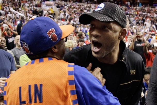 Will Smith hanging out with ultimate Knicks fan Spike Lee. Photo: CP