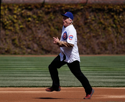 Bill Murray rounding the bases at Wrigley. Photo: CP