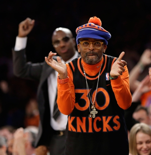 Spike has been known to sport some crazy Knicks gear. Photo: CP