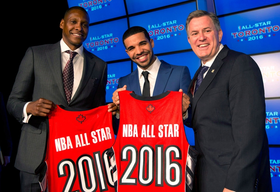 Drake helps announce that Toronto will host the 2016 NBA All-Star game. Photo: CP