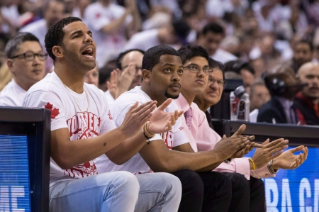 Drake cheering on his Raps from his sideline post. Photo: CP