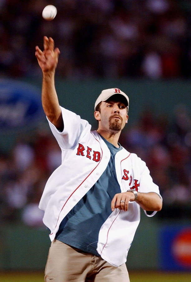 Ben Affleck throwing the first pitch at a Red Sox game. Photo: CP