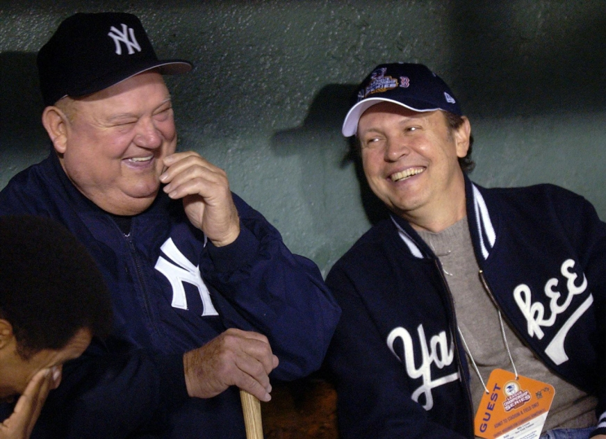 Billy Crystal with Don Zimmer during the 2003 ALCS. Photo: CP