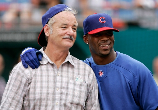 Bill Murray posing with Cubs outfielder Craig Monroe. Photo: CP