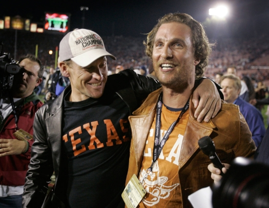 Cyclist Lance Armstrong hanging out with McConaughey after a Longhorns game. Photo: CP