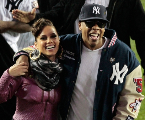 Jay-Z and Alicia Keys waiting to perform during a 2009 World Series game. Photo: CP
