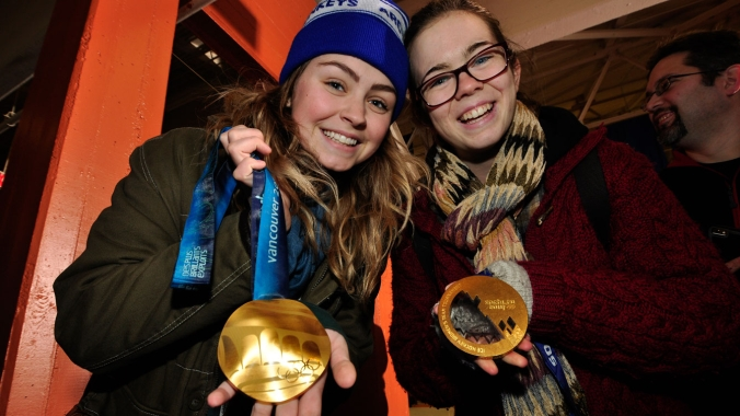 Fans had a chance to feel Olympic hardware prior to the Smoke Eaters game.